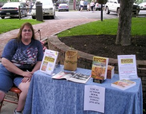Author Mary A. Shafer promoting her books at a July 4th event