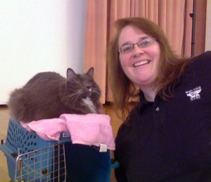 Mary Shafer and her blind cat, Idgie, at a presentation in Bethlehem, PA