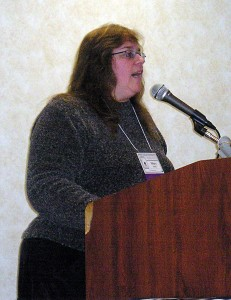 Author Mary Shafer speaks at the Cat Writers Association Conference