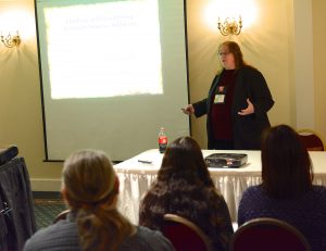 "Author Mary Shafer presenting a half-day Indie Publishing Workshop at GLVWG ""The Write Stuff"" writer's conference"